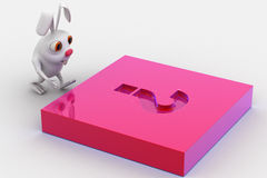 3d rabbit with pink question mark melt on Royalty Free Stock Photo