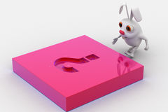 3d rabbit with pink question mark melt on Royalty Free Stock Image