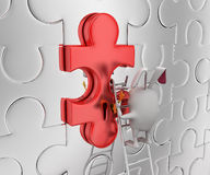3d rabbit place and fix last piece of jigsaw puzzle concept Royalty Free Stock Photography