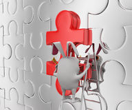 3d rabbit place and fix last piece of jigsaw puzzle concept Royalty Free Stock Photo
