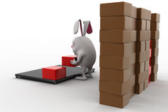 3d rabbit placing boxes from on storage to plateform concept Stock Image