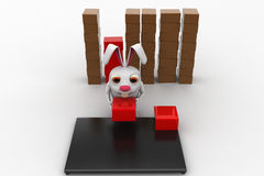 3d rabbit placing boxes from on storage to plateform concept Royalty Free Stock Photo