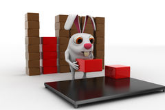3d rabbit placing boxes from on storage to plateform concept Stock Images