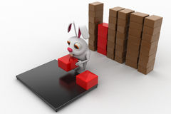 3d rabbit placing boxes from on storage to plateform concept Stock Photo