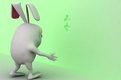 3d rabbit placing green last piece of puzzle in wall concept Royalty Free Stock Photo