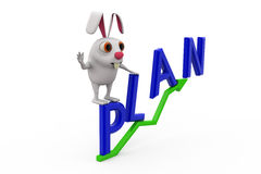 3d rabbit on plan text concept Royalty Free Stock Photography