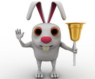 3d rabbit play with golden bell concept Royalty Free Stock Photos
