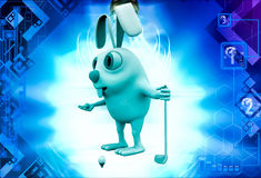 3d rabbit play golf illustration Royalty Free Stock Image