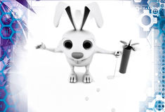 3d rabbit play golf illustration Royalty Free Stock Photography
