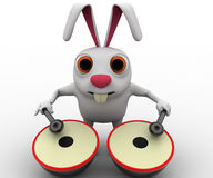 3d rabbit play musical drum concept Stock Image