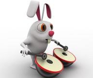 3d rabbit play musical drum concept Royalty Free Stock Photography