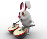 3d rabbit play musical drum concept Royalty Free Stock Photos