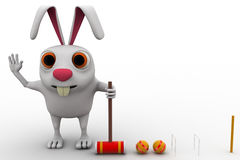 3d rabbit play polo with hammer and balls concept Stock Photos