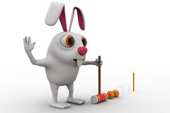 3d rabbit play polo with hammer and balls concept Royalty Free Stock Photography