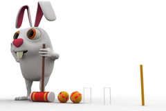 3d rabbit play polo with hammer and balls concept Stock Images