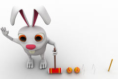 3d rabbit play polo with hammer and balls concept Stock Image