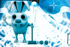 3d rabbit play polo with hammer and balls illustration Royalty Free Stock Photos