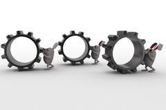 3d rabbit push cogwheel concept Royalty Free Stock Photos