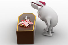 3d rabbit put flower on coffin in funeral concept Royalty Free Stock Photography