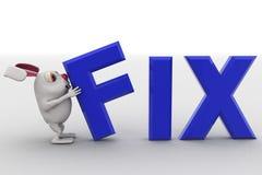 3d rabbit putting fix text concept Stock Photos