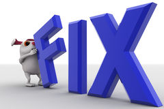 3d rabbit putting fix text concept Royalty Free Stock Photo