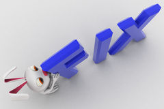 3d rabbit putting fix text concept Stock Images