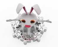 3d rabbit with puzzle piece concept Stock Photos