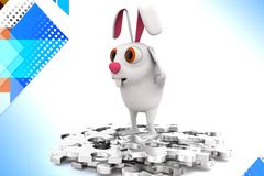 3d rabbit standing over unsolved puzzle problem illustration Stock Photography