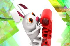 3d rabbit question and answers illustration Royalty Free Stock Image