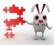 3d rabbit with question mark of jigsaw puzzle concept Stock Photo