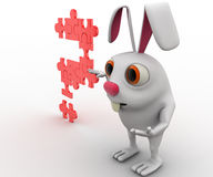 3d rabbit with question mark of jigsaw puzzle concept Stock Photography