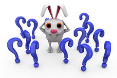 3d rabbit questions concept Royalty Free Stock Photos
