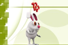 3d rabbit confused - questions illustration Stock Photo