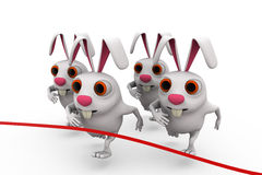 3d rabbit race concept Stock Photos