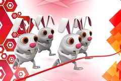 3d group of rabbit race at finish line  illustration Royalty Free Stock Photo