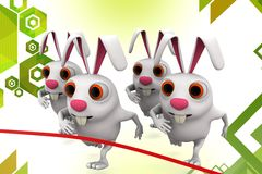 3d group of  rabbit about to finish in a  race illustration Royalty Free Stock Photos