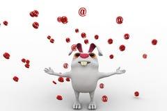 3d rabbit rain of @ mail symbol concept Stock Photo