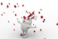 3d rabbit rain of @ mail symbol concept Royalty Free Stock Photography