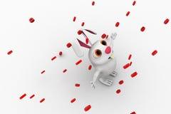 3d rabbit rain of @ mail symbol concept Royalty Free Stock Image