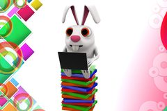 3d rabbit reading books illustration Royalty Free Stock Image