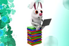 3d rabbit working with laptop  on books  illustration Royalty Free Stock Images
