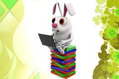 3d rabbit read books illustration Royalty Free Stock Photography