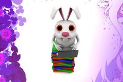 3d rabbit reading books illustration Stock Images