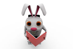 3d rabbit read on chair concept Stock Images