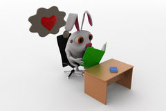 3d rabbit read love story concept Stock Images