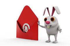 3d rabbit read mail concept Stock Photography