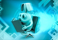 3d rabbit reading book sitting on chair illustration Royalty Free Stock Image