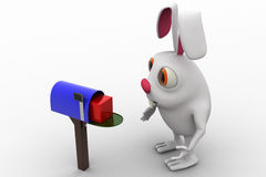 3d rabbit receive box in mail post box  concept Stock Images