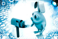 3d rabbit receive box in mail post box  illustration Stock Photography