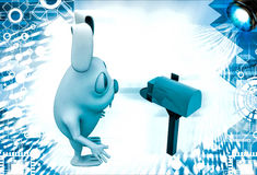3d rabbit receive box in mail post box  illustration Royalty Free Stock Photos